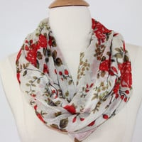 Red Floral Infinity Scarf - Handmade Circle Scarf - Statement Wear - Women's Accessory - LightWeight Loop Scarf