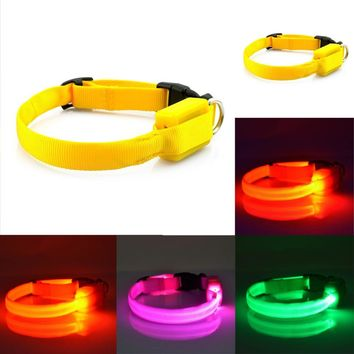 LED Nylon Pet Dog Cat Collar Led Light Up Pet Dog Collar Flashing Night Safety Glow In The Dark