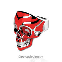 Mens Modern Italian 14K White Gold Red Enamel Skull Ring R635-14KWGRE