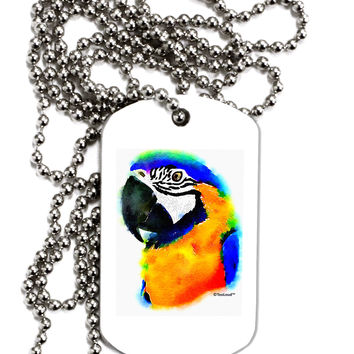 Brightly Colored Parrot Watercolor Adult Dog Tag Chain Necklace