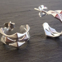 Small Geometric Sterling Silver Earring Hoops