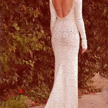 With Hearts In My Eyes Rose Crochet Fishtail Dress