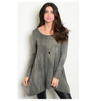 Cozy Cute Mineral Wash Black Tunic Top