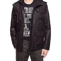 True Religion Military Mens Leather Jacket - Sable