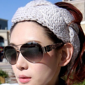 Fashion Girl Crochet Headband Knit hairband Flower Winter Women Ear Warmer = 1958212612