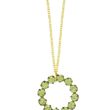 Vintage Peridot Green Swarovski Rhinestone Circle Necklace