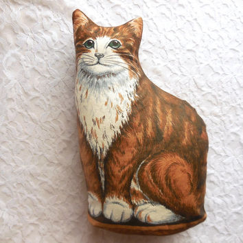 Cat Pillow - Large or Small Cat Pillow - Brown Kitten - Vintage Style Fabrics - Newly Handmade in the USA - Life-like Sitting Shelf Kitty
