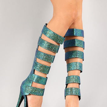 Anne Michelle Iridescent Strappy Open Toe Knee High Heel