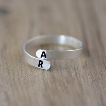 Silver personalized monogram ring  Free US Shipping handmade anni designs
