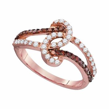 10k Rose Gold Women's Red Diamond Twist Ring - FREE Shipping (US/CA)
