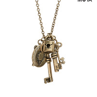Aeropostale Key Cluster Long-Strand Necklace - Gold, One