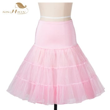 50S Retro Vintage Petticoat Tutu Skirt Pink White Black Red Women Ladies Tulle Skirts Organza Party Skirt Underskirt VD0134PI