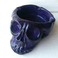 Skull Ashtray - Purple & Black hand painted plaster / goth home decor smoking Skull