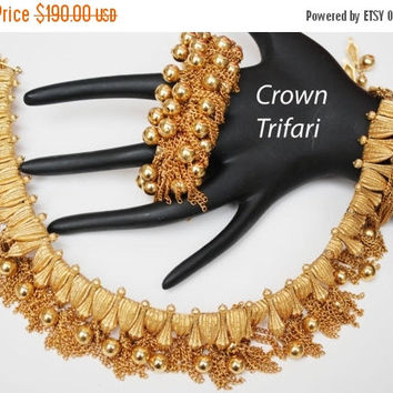 Crown Trifari Gold Tassel Link  Necklace and expansion  Cha cha Bracelet Mid Century