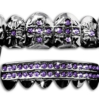 "Hip Hop Gun Metal ""Cross"" Fangs Teeth Grillz Set - Purple Stones"