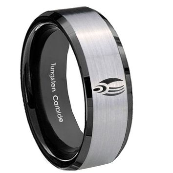 10mm Star Trek Borg Beveled Brushed Silver Black Tungsten Mens Wedding Ring
