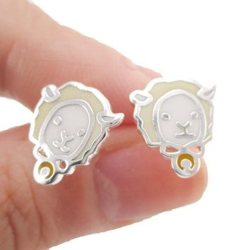 Adorable Alpaca Sheep Lamb Face Shaped Stud Earrings in Silver | Allergy Free