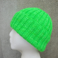 Neon Green Hat, Hand Knit in Merino Wool, Men & Women, Watch Cap Beanie Stocking Toque