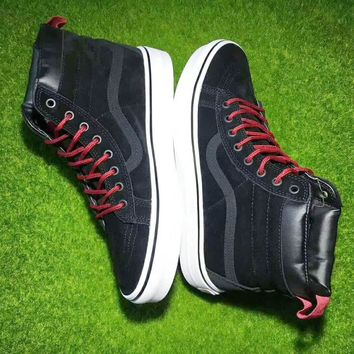 Vans Black Red Ankle Boots Old Skool Canvas Flat Sneakers Sport Shoes G-CSXY-1