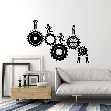 Vinyl Wall Decal HR Gears Teamwork Office Space Business Workers Stickers Mural (g2690)