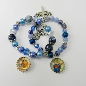 Stacked Christian Charm Bracelets Beaded Blue Holy Mother Glass Tile Pendant Charms