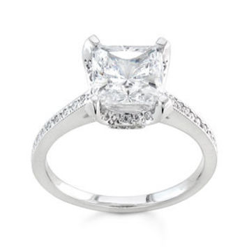 Ladies 14kt white gold pave diamond engagement ring 0.25 ctw G-VS2 diamonds with 1.50ct Princess Cut white Sapphire