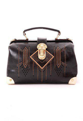 Aztec Pattern Doctor Bag in Black - Retro, Indie and Unique Fashion