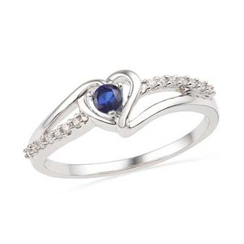 Lab-Created Sapphire and Diamond Accent Heart Ring in Sterling Silver