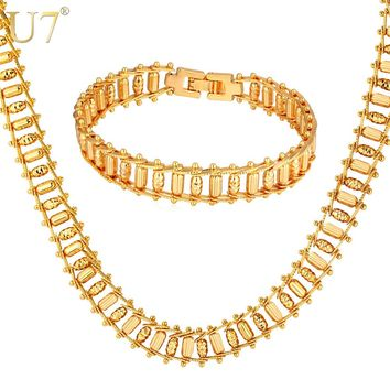 U7 Ethiopian Jewelry Set For Men Punk Rock Gold/Silver Color 11MM Wide Big Chunky Bullet Bracelet Necklace Set S776