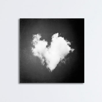 "Love Canvas Print - heart cloud nursery black and white babys room decor modern canvas gallery wrap black white photography, ""All My Love"""