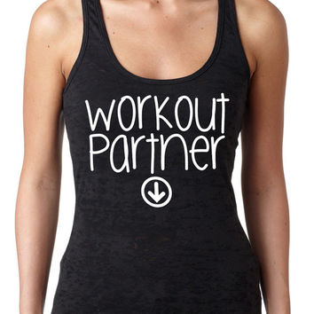 Workout Partner Burnout Tank Top Baby Pregnant Pregnancy Women's Gym Workout Fitness Funny Booty Funny Muscle