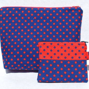 Navy Orange Polka Dot Cosmetic Bag Coin Purse Set Clutch Zipper Purse Fabric with Inside Pocket
