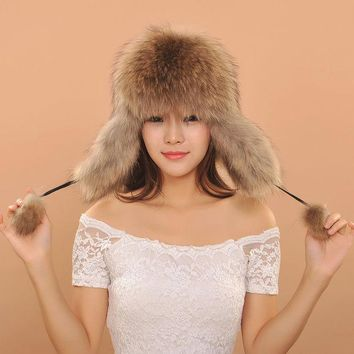 DCCKJG2 2016 Women Warm Winter Fox Fur Earflaps Leather Hats For Female Fur Balls Ladies Cap