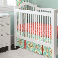 Coral and Aqua Medallion Two-piece Crib Bedding Set