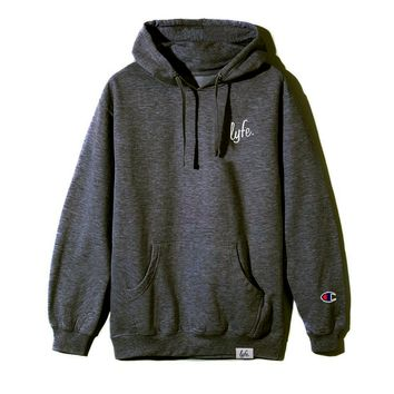 LYFE Script Embroidered Hoodie - Charcoal