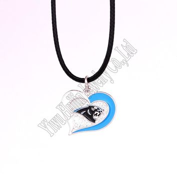 New Arrival 5 pcs a lot sporty necklace with Carolina Panthers Logo charm heart pendant rope chain