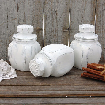 White shabby chic jars