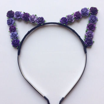 Purple Floral Cat Ears #E1014