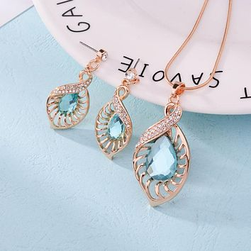 Fashion Wedding Jewelry Sets Light Blue Crystal Water Drop With Bridal African Necklace Earrings Sets