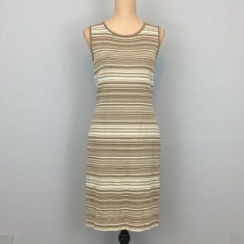 80s 90s St John Marie Gray Dress St John Knits Sleeveless Fitted Dress Horizontal Stripe Beige Tan White Size 4 Dress XS Womens Clothing