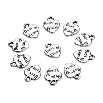 20 Pieces Inspirational Best Friends Hearts Charms Findings Jewelry Pendant Necklace Making 12X10mm