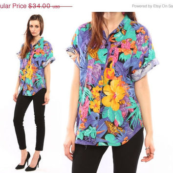 tropical floral shirt // vintage 80s // bold by shopCOLLECT