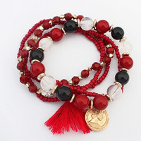 Tassels bracelet for women Multi Bohemio Charm Bracelets  2015 Fashion Jewelry Pulseiras Feminina Christmas Gift