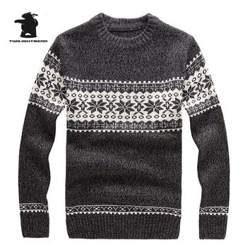 New Winter Mens Jacquard Sweaters Fashion Cowl Neck Wool Pullover Sweater For Men Thick Men Sweater Pull Homme 4 Colors DB12F801