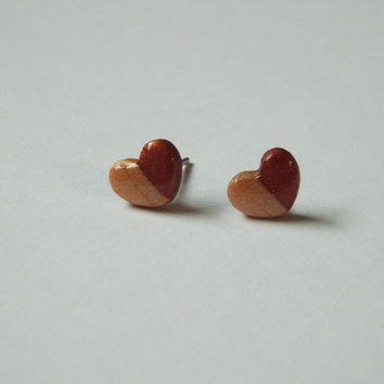 Tiny Neutral Heart Stud Clay Earrings Simple Ear Studs