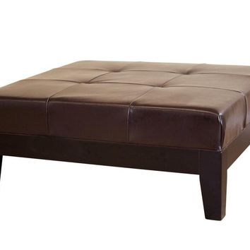 Baxton Studio Dark Brown Large Full Leather Square Cocktail Ottoman Set of 1