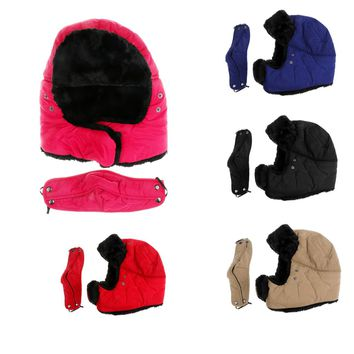 SNOWDADS!  For the WHOLE Family!  High Quality Soft Warm Mens/Ladies Trapper Aviator Plain Russian Winter Hat Cap with Mask