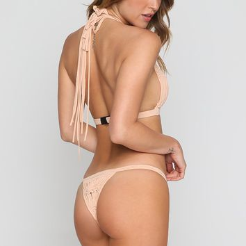 Outlaw Macrame Bikini Bottom in Buff