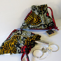 Fabric Gift Wrap bag, African design, Drawstring Bag, Travel Bag, Makeup Bag, Jewelry Bag, Small Bag,