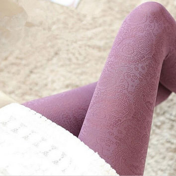 Women's Winter Cable Knit Warm Tights Footed Warm Stretch Tights Pantyhose
